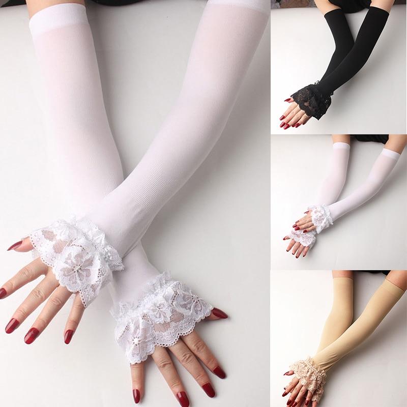 Sommer Sonnencreme Spitze Handschuhe Fäustlinge Elastische Arm Hülse Medium Für Fahren Lange Handschuh Fingerlose Herbst Winter Warme Handschuhe