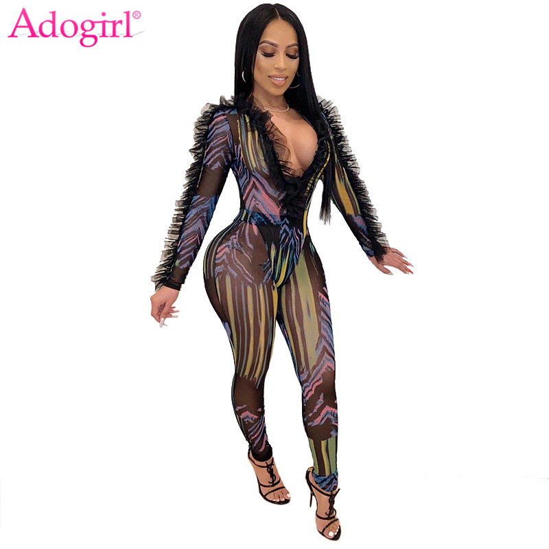 Adogirl Ruffle Fashion Print Sheer Mesh Jumpsuit 2020 Spring Women Deep V Neck Long Sleeve Bodysuit Pencil Pants 2 Piece Set