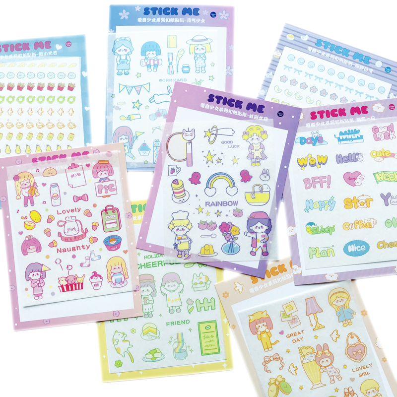1 Sheet Kawaii Girl Series Party Daily Life Stickers Hand Account Decor Washi Sticker Stationery Kids Gift