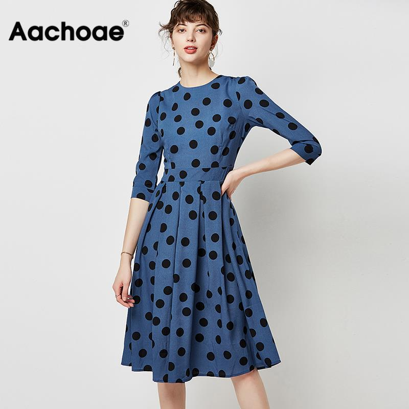 Women Autumn Casual Polka Dot Dress 2020 A Line Elegant Office Tunic Dress Three Quarter Sleeve O Neck Vintage Dresses Vestidos