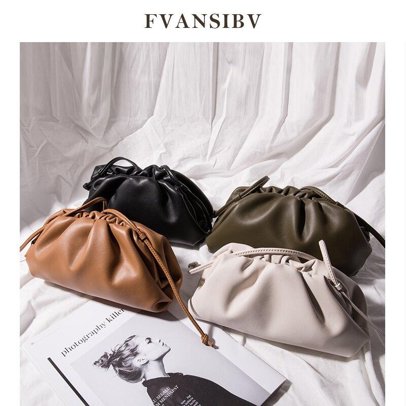 Clouds Bag Leather Women Bag 2020 New Fashion Shoulder Bag Star Models Bag Soft Hobo Bag Clutch Minimalist Brand Design Spot