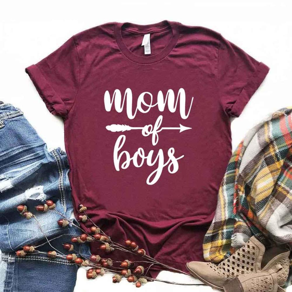 Mom Of Boys Arrow Print Women Tshirts Cotton Casual Funny T Shirt For Lady  Yong Girl Top Tee 6 Color Drop Ship NA-976