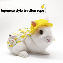 Cute Bunny Vest Harness Outdoor Leash Set Rabbit Clothing Suit Button Decor Small Pet Kitten Small Animal Clothes Animal Walking