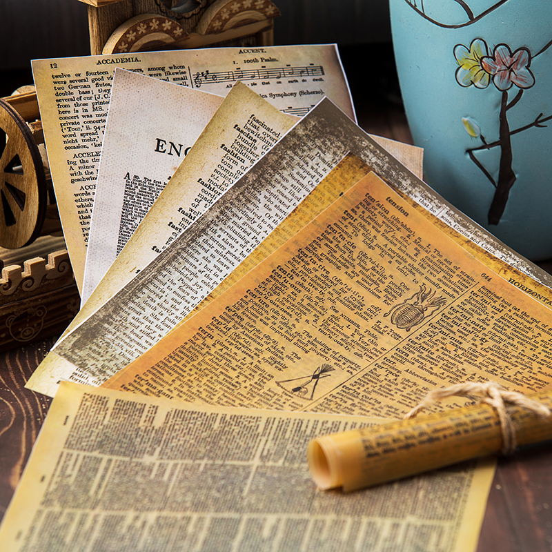 8pcs/Bag Vintage English Letters Vellum Paper Pack For Scrapbooking Happy Planner Card Making Junk Journal Project