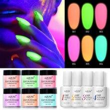 Azure Beauty Luminous Dipping Powder Nail Art Fluorescent Glitter Dip Gradient Color In Dark