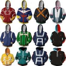 3D Printed My Hero Academia Hoodie Men Women Boko no Hero Academia Cosplay Costume Zipper Sweatshirt School Jackets