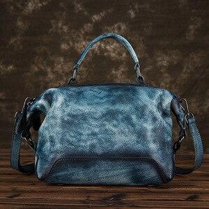 Image 3 - جوهناتشر رسمت باليد جلد طبيعي حقيبة يد فاخرة حقائب النساء 2020 جديد عادية حمل سعة كبيرة حقائب الكتف و Crossbody