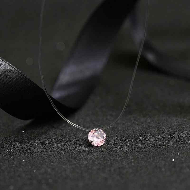 Moda Brilhante De Cristal Colar de Zircão Pingente de Linha De Pesca Transparente Invisível Senhoras Colar de Jóias Clavícula Cadeia Chocker