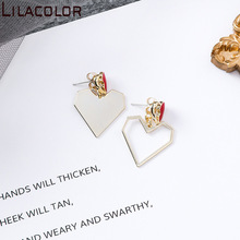 925 silver needle new Korean version geometric simplicity hollow love asymmetric Earrings personality pop earrings earrings