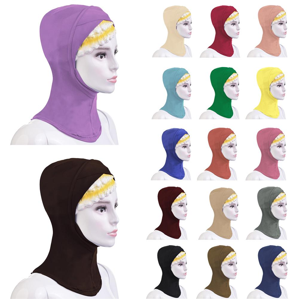 Muslim Cross Scarf Inner Hijab Cap Islamic Full Cover Head Wear Hat Ninja Bone Bonnet Turban Head Scarf Headwrap Women Hijab