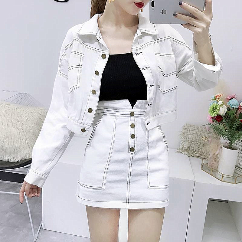 Fashion Women'S Clothing Set Long-Sleeved Jean Jackets Coat White Skirt Two-Piece Denim Suit Slim Casual Lady VestidoCC297