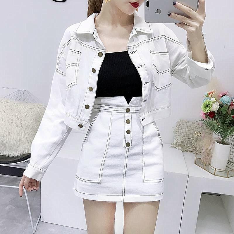 Fashion Women'S Clothing Set Long-Sleeved Jean Jackets Coat White Skirt Two-Piece Denim Suit Slim Casual Lady VestidoCC297