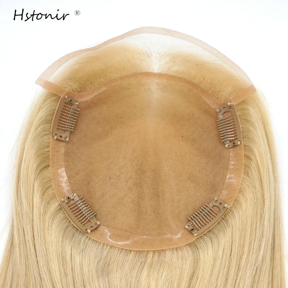 Hstonir Blond Jewish Hair Toppers For Women 613 Closure Wig Women Toupee European Remy Hair Mono Lace Front Top Piece TP31