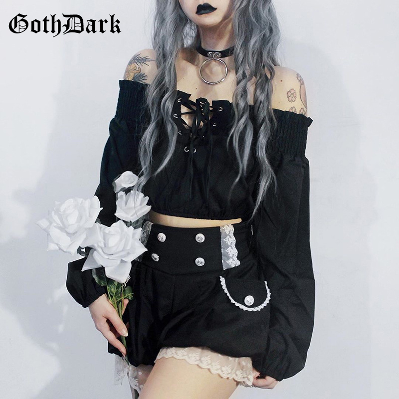 Goth Dark Vintage Grunge Gothic T-shirt Women Harajuku Cropped Hollow Out Pleated T-shirts Autumn 2019 Strap Puff sleeve Punk(China)