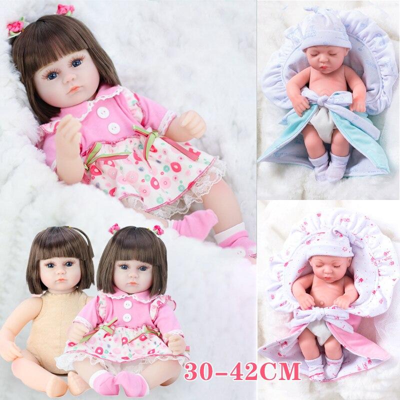 30CM / 42CM Realistic Handmade Baby Dolls Girl Newborn Lifelike Vinyl Alive Reborn Baby Doll Girl Christmas Birthday Toy Gift