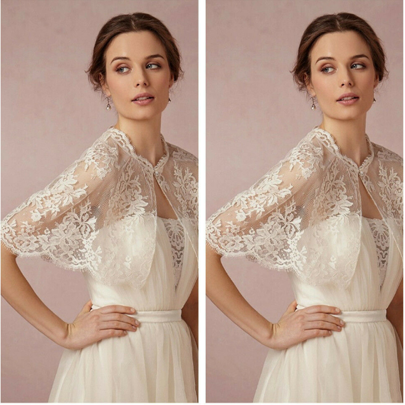 Lace Simple Wedding Lace Boleros Jackets Topper With Button Close Bridal Wrap