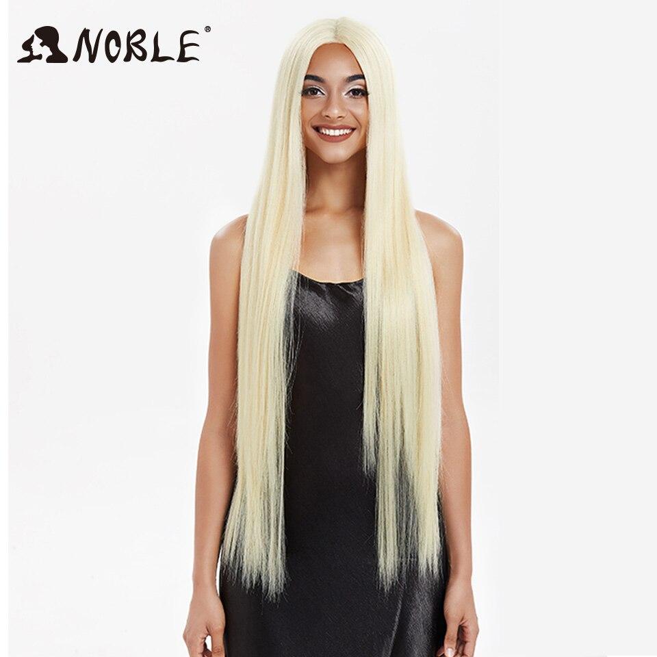 Perruque Lace Front Wig synthétique lisse 38 pouces-Noble, perruque Blonde 613 pour femmes noires, perruque de Cosplay synthétique