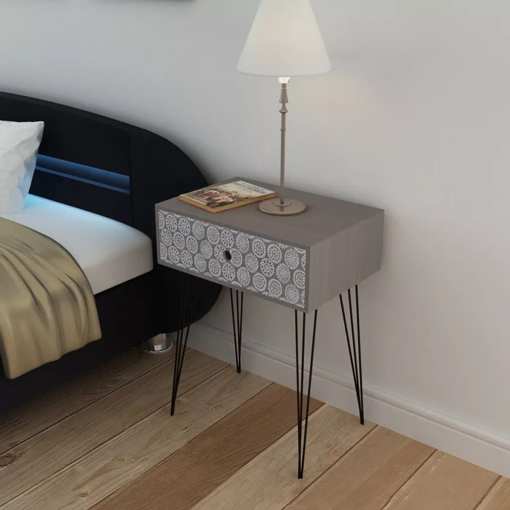 VidaXL Nightstand With 1 Drawer Rectangular Grey Can Be As As A Side Cabinet Or A Telephone Stand