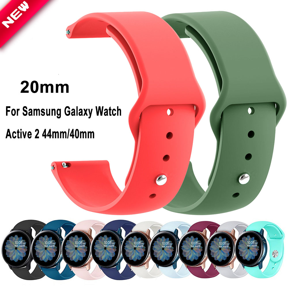 20mm Silicone Strap For Active 2 44mm 40mm Band For Samsung Galaxy Watch Active/Active2 Bracelet Sport Waterproof Belt