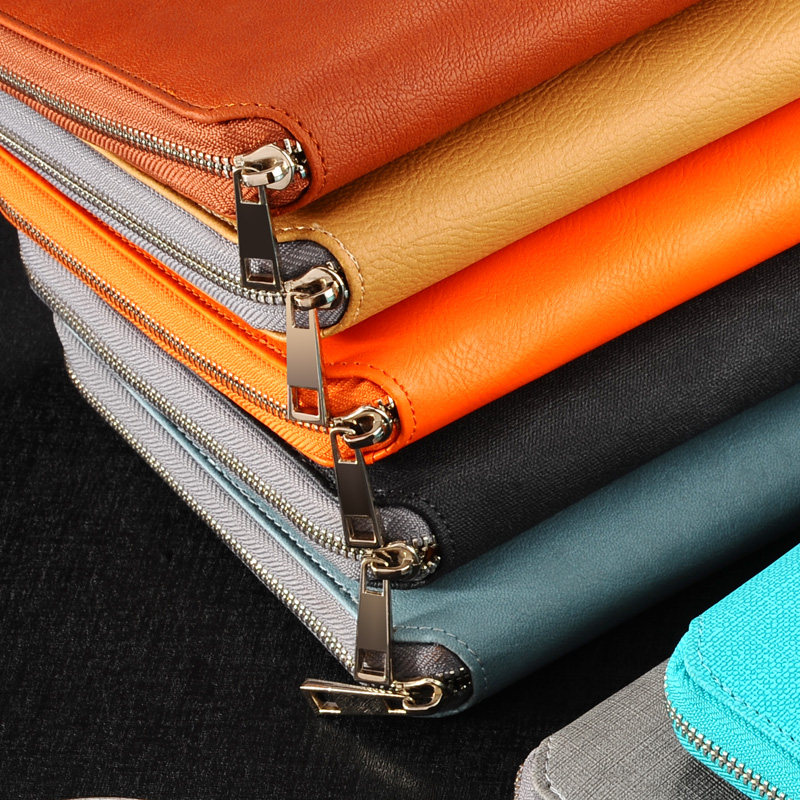 A5/A6 Classic leather zipper binder agenda planner organizer notebook,Macaron large capacity office padfolio/manager folder(China)