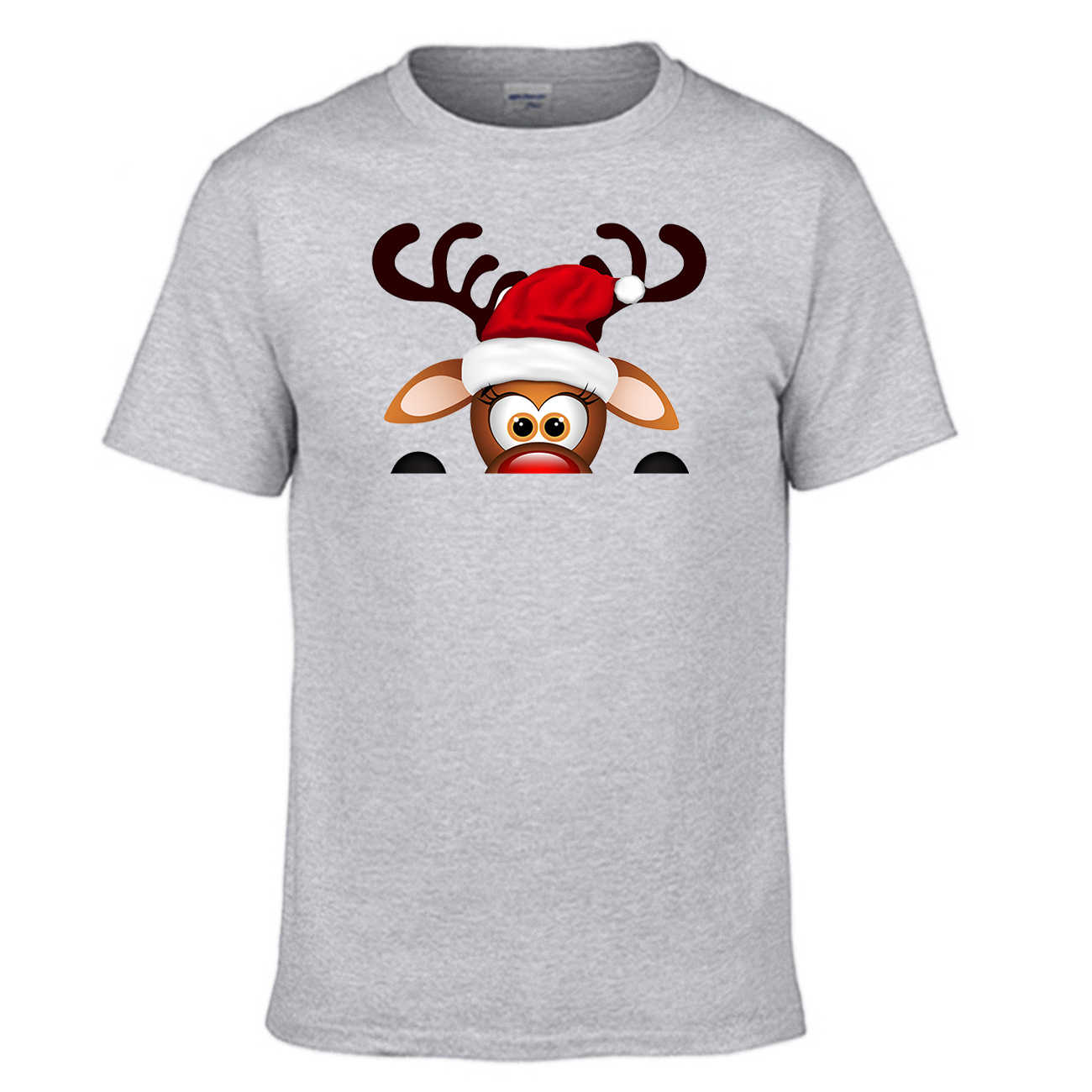 Men Funny Christmas Reindeer Cute T Shirt Men New Year Short Sleeve Cotton Summer Tees Couple Rudolph Gift Party Clothes Shirts