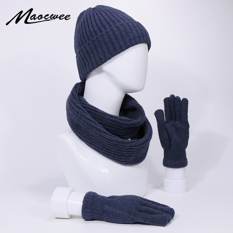 Three Piece Set Beanie Hat Scarf And Gloves Sets For Women And Men With Lining Winter And Autumn Knitted Stripes Cap Outdoor Thick Warm Beanies Hat Scarf Gloves Set
