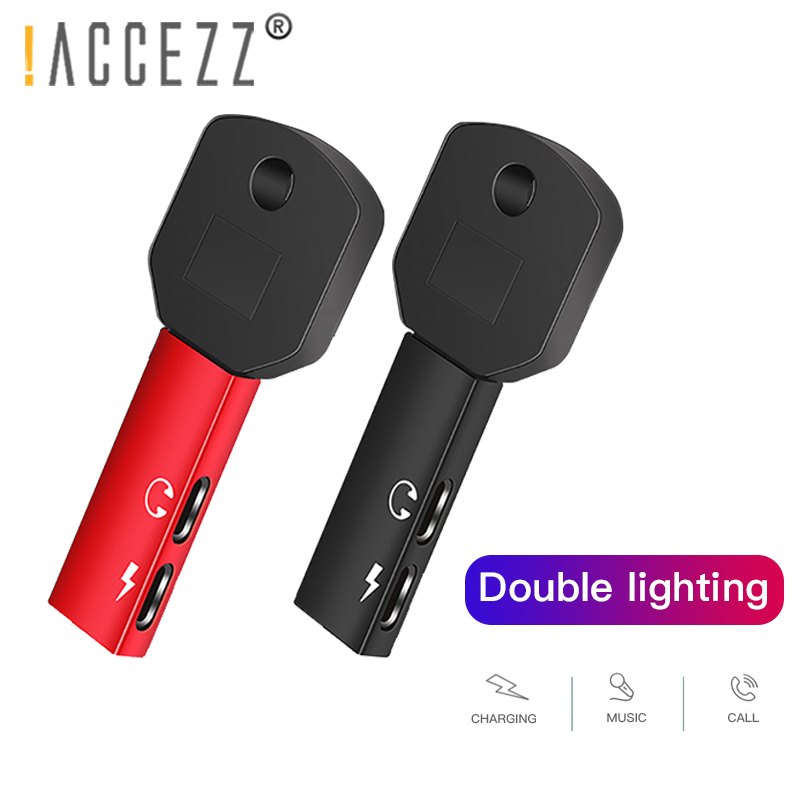 !ACCEZZ Dual Lighting Charging Call Adapter for <font><b>Iphone</b></font> 7 8 Plus X XS MAX XR IOS 11 12 Jack To Earphone <font><b>2</b></font> <font><b>In</b></font> <font><b>1</b></font> Support Microphone image