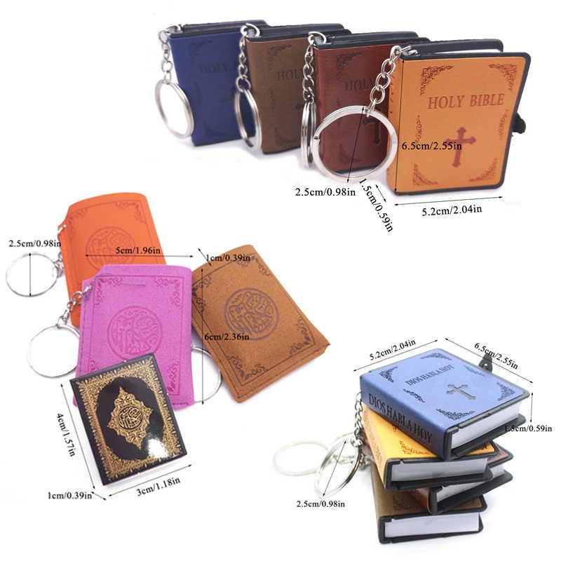 ミニキーチェーン女性の男性のキーリングアッラーイスラムリアルアラビアコーラン紙読むことができますペンダントレトロファッション宗教ジュエリー小物