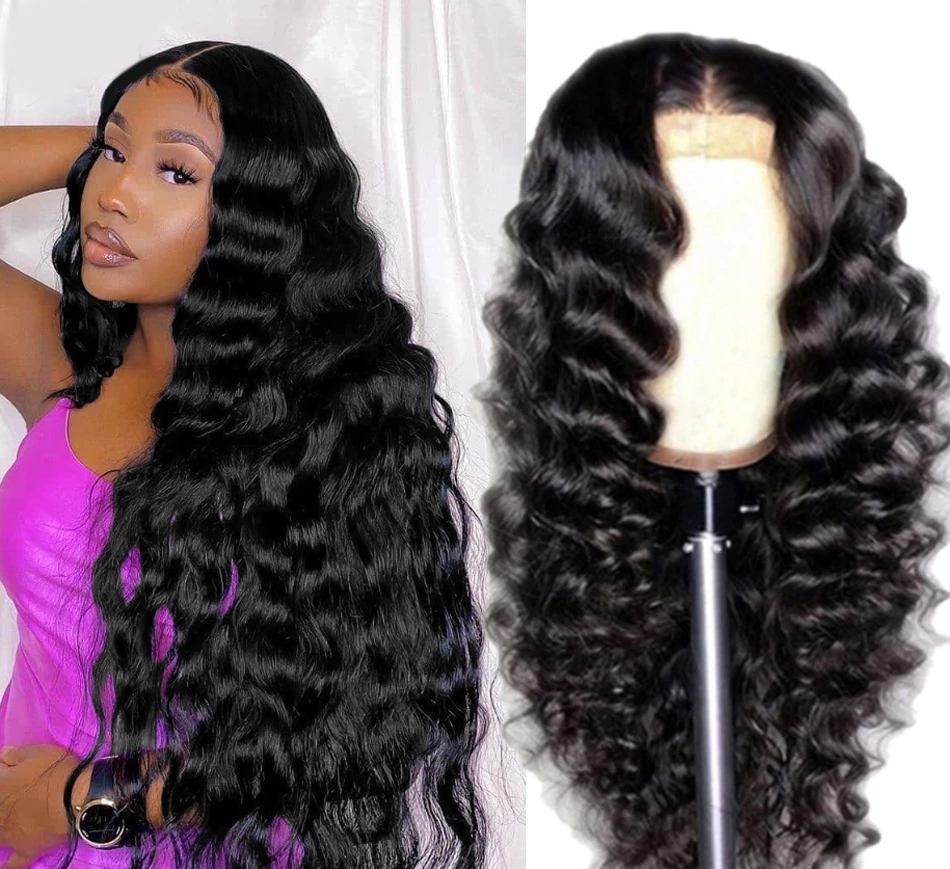 Brazilian 4x4 Natural Color  Loose Deep Lace Closure Wig Hair  14-22 Inch Long Wavy Closure Lace Wigs For Black Women