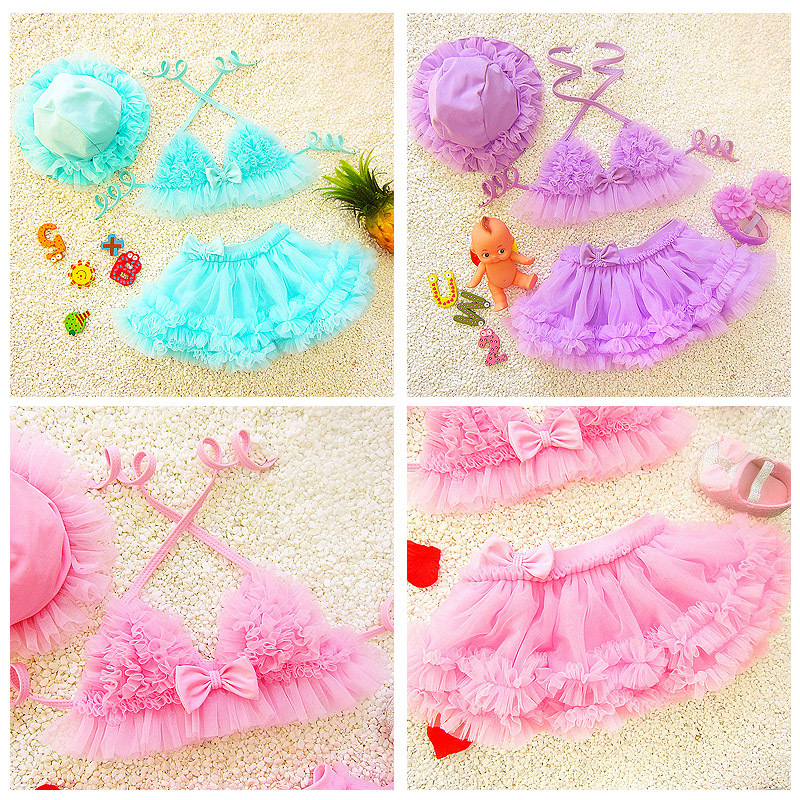 2018 New Style Baby Girls Split Type Bikini Children Three-piece Set Cute Skirt Women's Size Hot Springs Infants Children