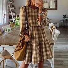 Women 2021 Spring Ruffle A Line Plaid Dress Vintage Casual Round Neck Three Quarter Sleeve Loose Vestidos Lady Office