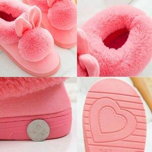 Image 5 - Zimowe kapcie damskie 2020 Fluff Suede utrzymuj ciepłe kapcie damskie buty śliczne uszy królika buty klapki damskie