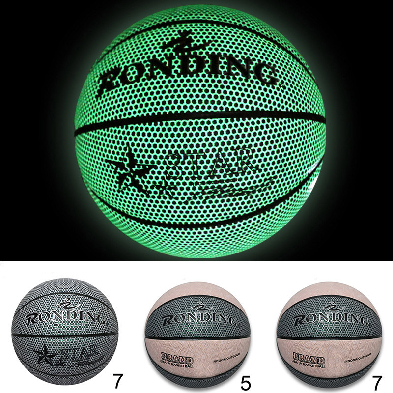 Newly Size 5/7 Glowing Basketball Light Up Luminous Basketball Glow In The Dark Battery-Free PU Leather Wholesale