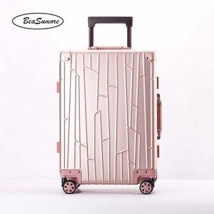 Image 5 - BeaSumore ใหม่ 100% อลูมิเนียมโลหะผสม Rolling กระเป๋าเดินทางคุณภาพสูงรถเข็นผู้ชาย 20 นิ้ว Cabin กระเป๋าเดินทาง