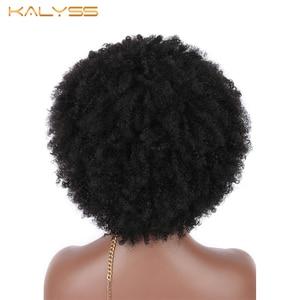 Image 3 - Kalyss Big Bouncy pełny gruby krótki Afro peruka z kręconych włosów typu Kinky dla kobiet lekkie włosy syntetyczne peruka peruka z kręconych włosów typu Kinky dla czarnych kobiet