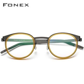 FONEX Acetate Alloy Vintage Eyeglasses 1