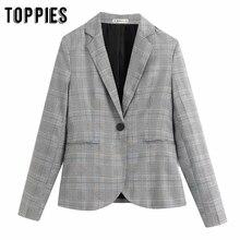 2020 vintage Gray Lattice Suit jacket single button blazer women formal