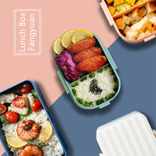 Lunch Box Silicone Cover Four Side Buckle Microwave Oven Food Storage Single Layer Grid Seal Student