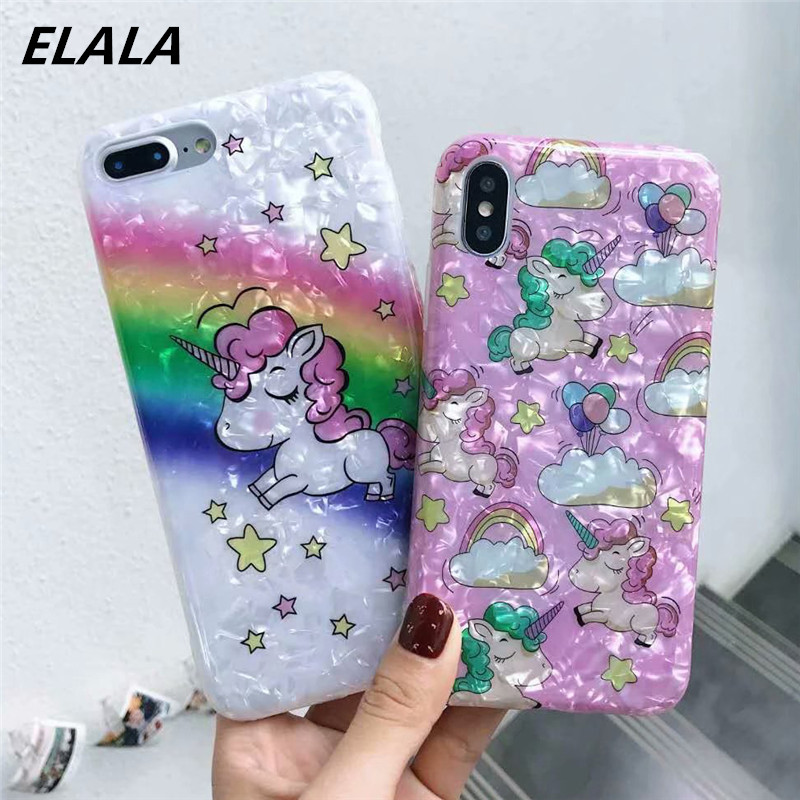 Fundas For iPhone XR Case Silicon Rainbow Unicorn Glitter Cute Marble Case For iPhone 6 7 8 Plus X Xs Max Soft TPU Cover