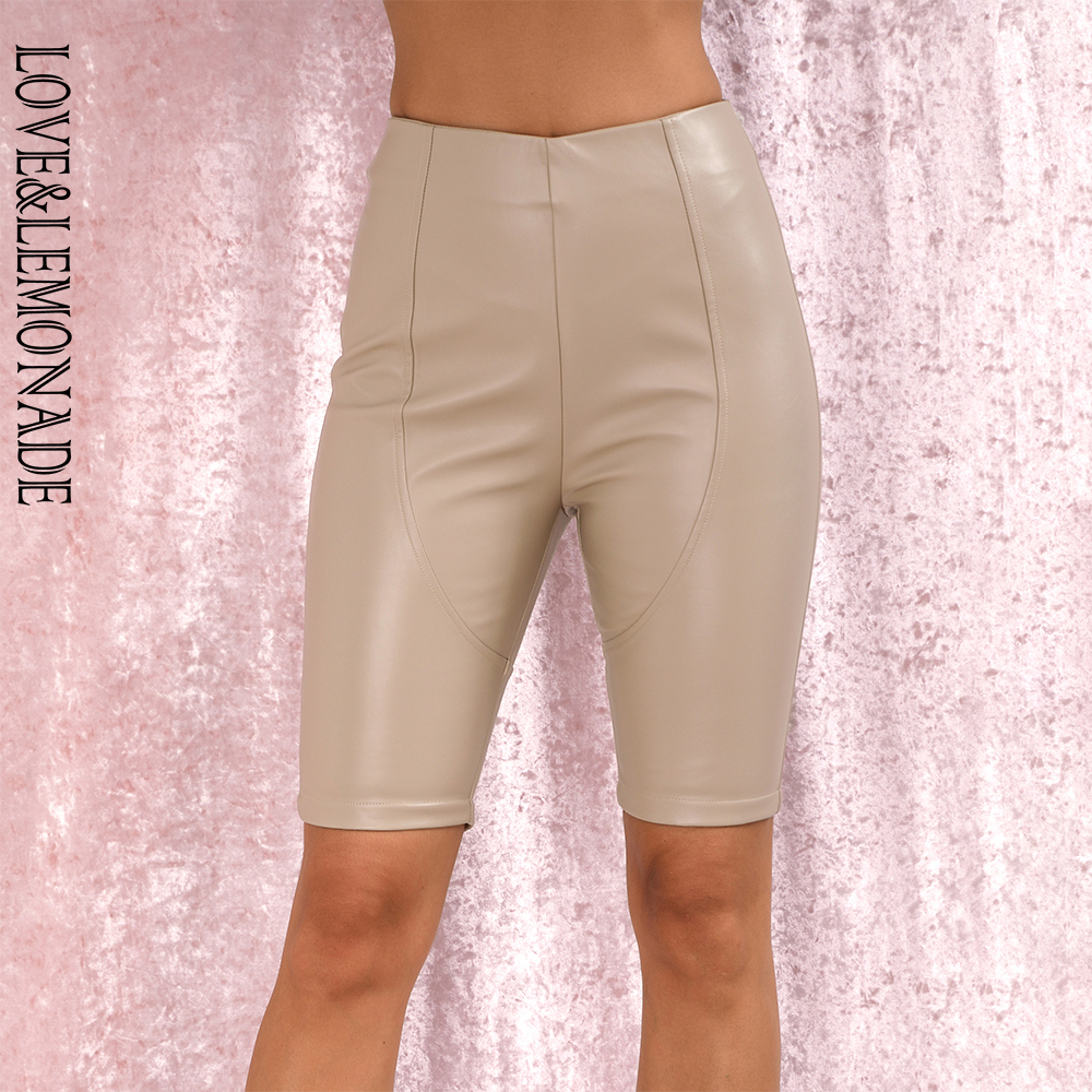 LOVE&LEMONADE Sexy NUDE Stitching Elastic Faux Leather Slim Shorts LM82013