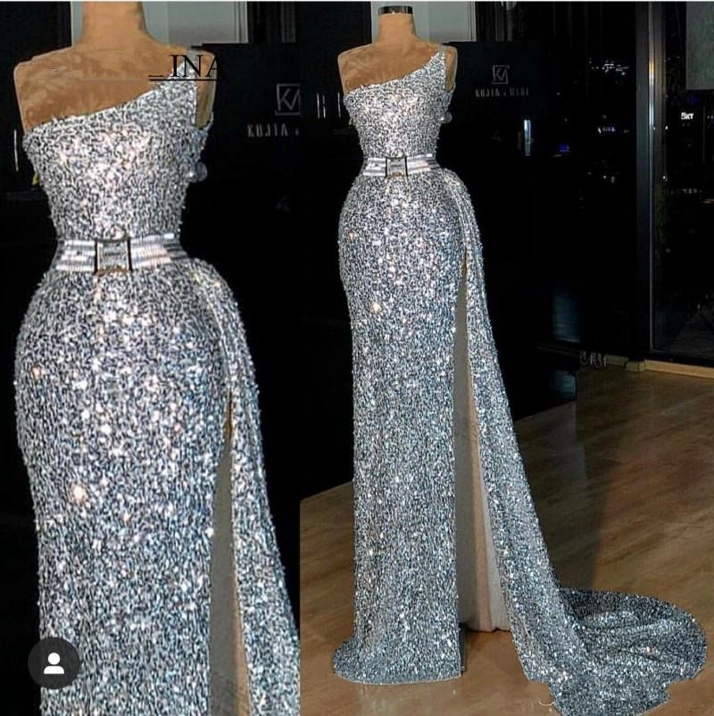 2020 Sparkly Silver Sequined Prom Dresses African Evening Gowns One Shoulder Side Slit Long Party Special Occasion Dress
