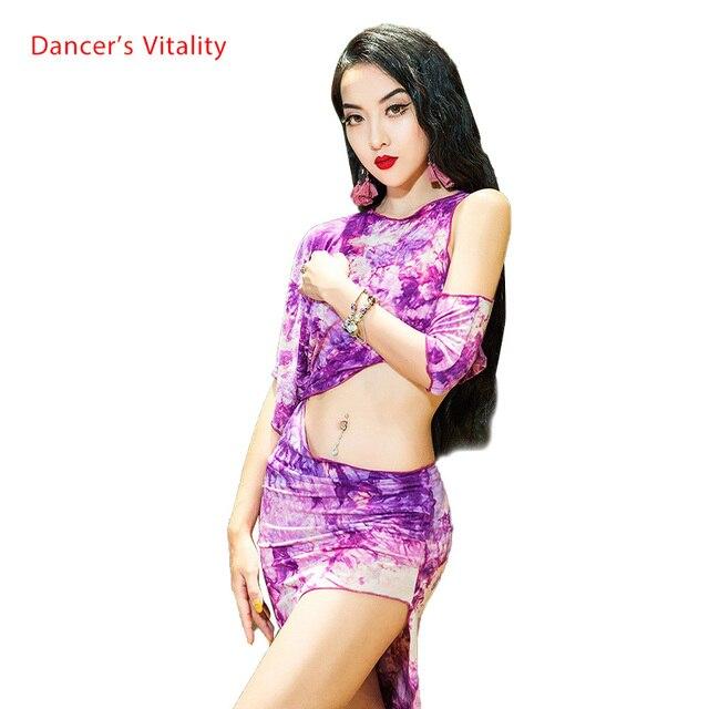 Prática Roupas de Dança do ventre Oriental Topo Saia com Cuecas Set Iniciante Primavera Verão Mulheres Sexy Desgaste da Dança Oriental