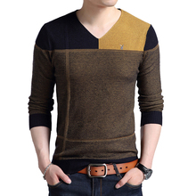 Winter Sweater Cashmere Men?s Fashion Color Blocking V-neck Thickening Fit Long Sleeve Trend Men's Casual