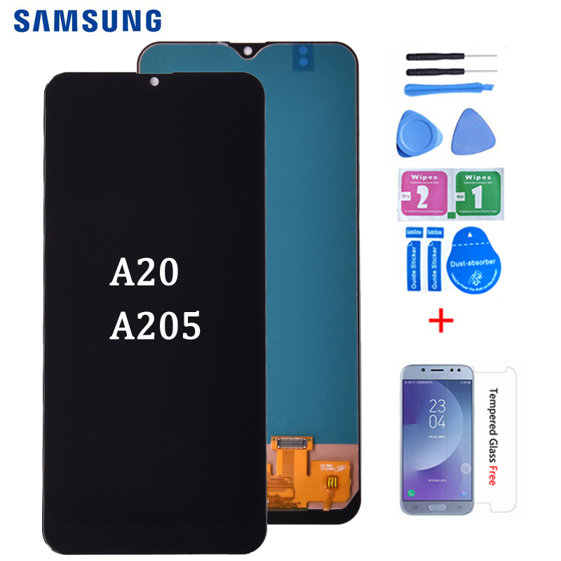 For <font><b>Samsung</b></font> <font><b>galaxy</b></font> <font><b>A20</b></font> A205 SM-A205F A205FN <font><b>lcd</b></font> Digitizer Display With Touch <font><b>Screen</b></font> Digitizer Assembly Free shipping image