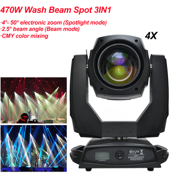 4Pcs/Lot 20R 470W Beam Spot Wash 3IN1 Moving Head Lights CMY Color Mixing Zoom DJ KTV Party Bar Show Light LED Stage Machine 10pcs lot cheap stage light 36 15w 5 in 1 led zoom moving head wash light rgbwy color mixing dmx512 lighting control