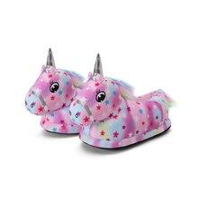 Unicorn Slipper Indoor Shoes Rainbow Children Girls Winter Warm Soft Star Homewear Flannel