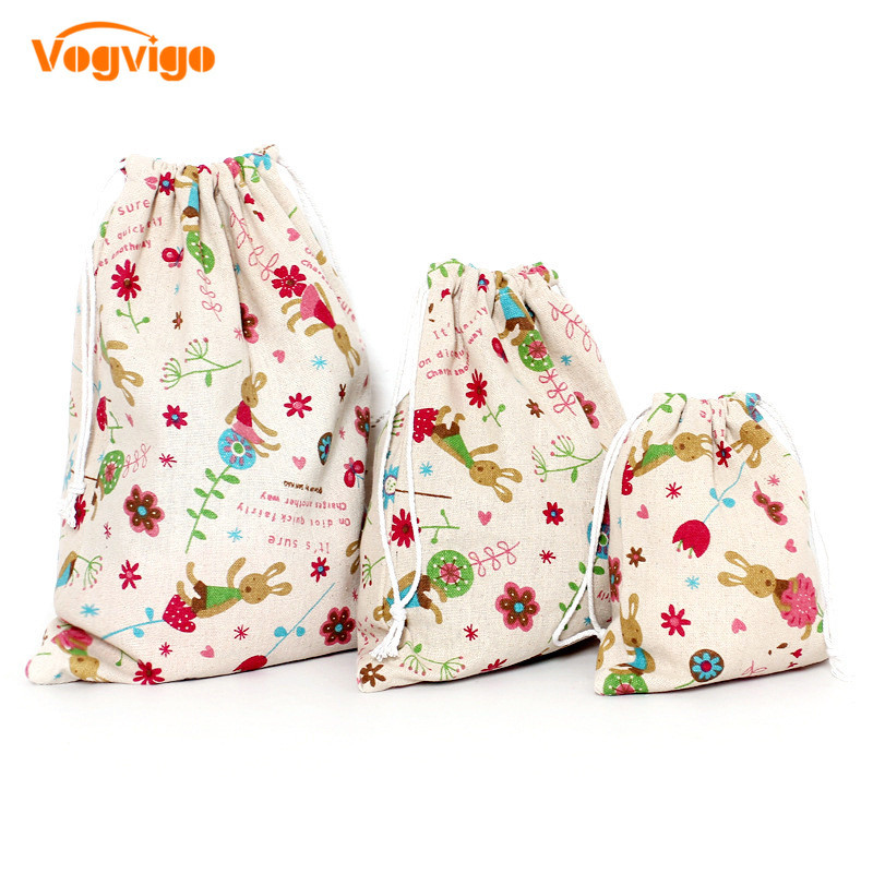 VOGVIGO 3pcs/set Printed Drawstring Bags Draw Pocket Storage Pouch Cute Cartoon Photo Farmhouse Style Sack Makeup Bags Wholesale