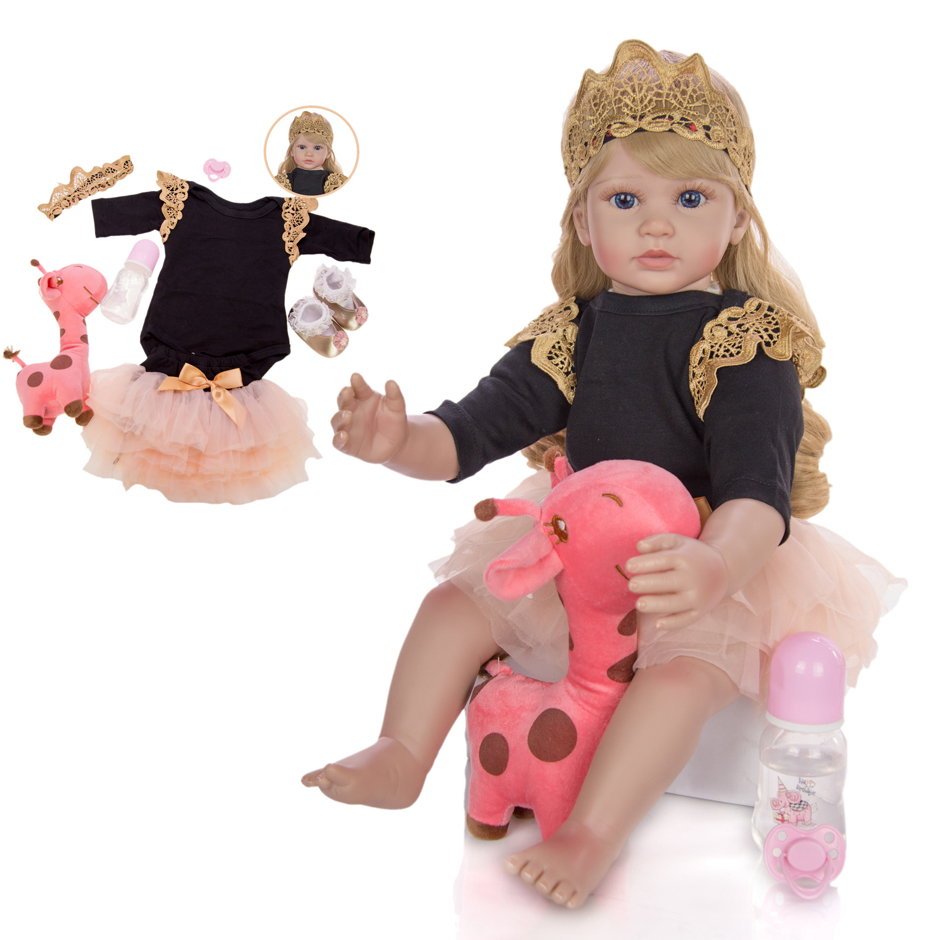 <font><b>60</b></font> <font><b>cm</b></font> Silicone Vinyl <font><b>Reborn</b></font> Baby <font><b>Doll</b></font> Lifelike Princess <font><b>Doll</b></font> With Blond Hair Girls toddler Play <font><b>Doll</b></font> Toys Birthday Gift image