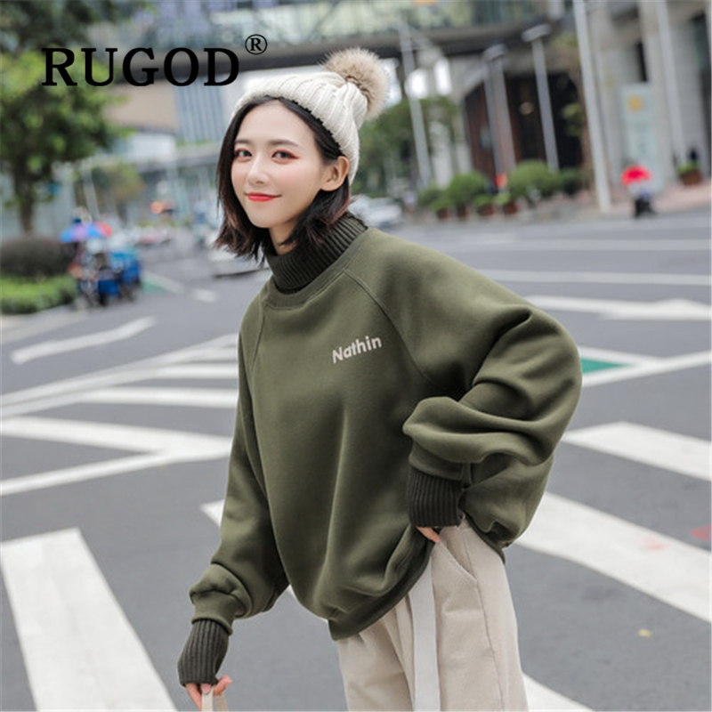 RUGOD Vintage Fleece Auturm Women Hoodies Fashion Loose Turtleneck  Letter Ptined Office Ladies Warm Coat Casual Female Clothes