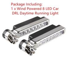 1Pc Car  Running Lights styling No Need External Power Supply Car Daytime Wind Energy 8 LED  Daylight Headlight Lamp New 2021
